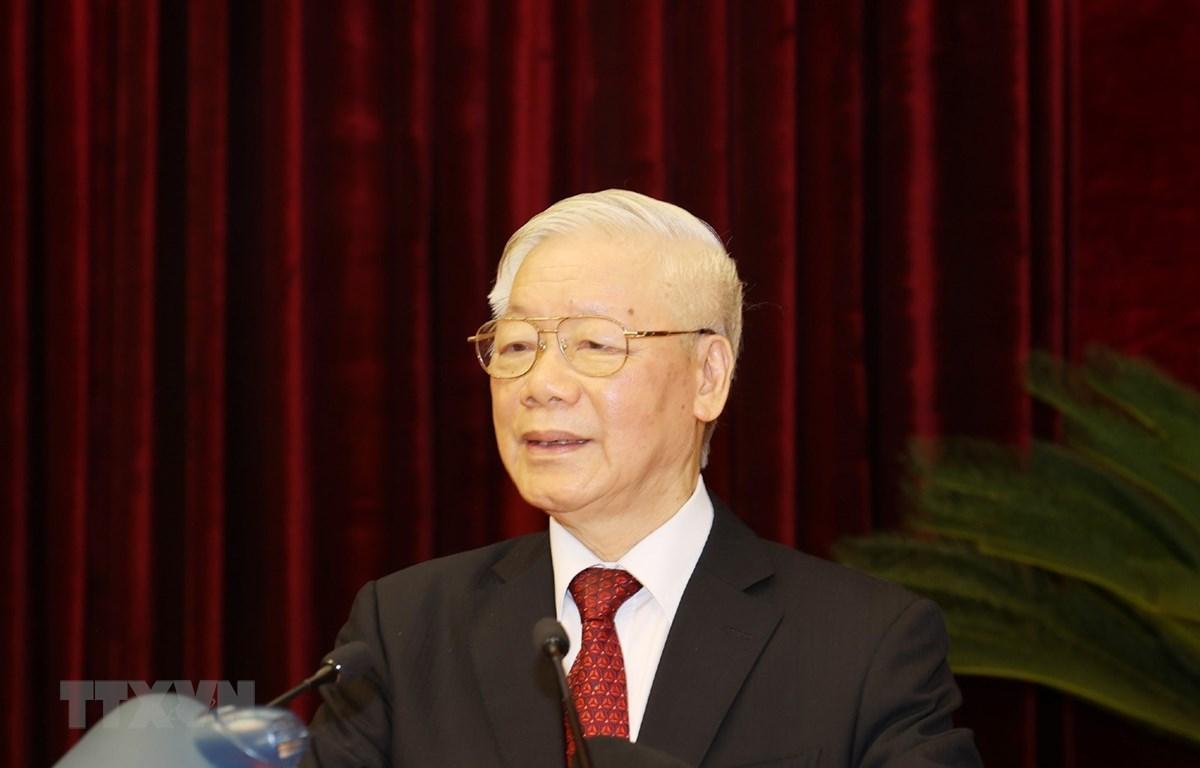 Tổng Bí thư, Chủ tịch nước Nguyễn Phú Trọng phát biểu bế mạc Hội nghị. (Ảnh: Trí Dũng/TTXVN)