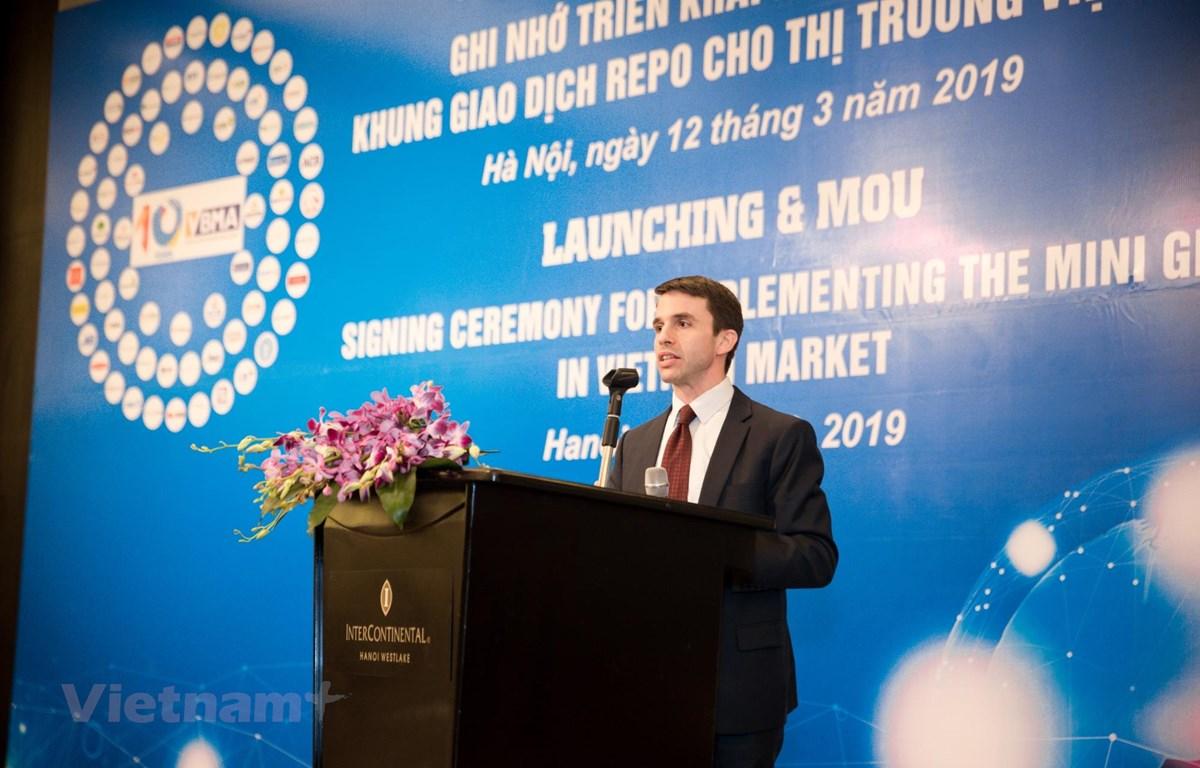 Đại diện Ngân hàng Phát triển Châu Á phát biểu tại Hội nghị. (Ảnh: BTC/Vietnam+)