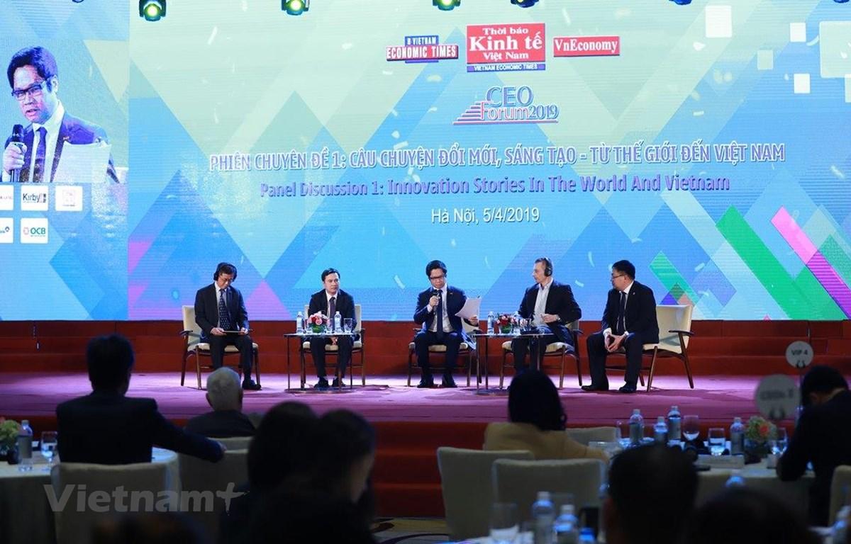 Các diễn giả tham dự Diễn đàn CEO 2019. (Ảnh: BTC/Vietnam+)