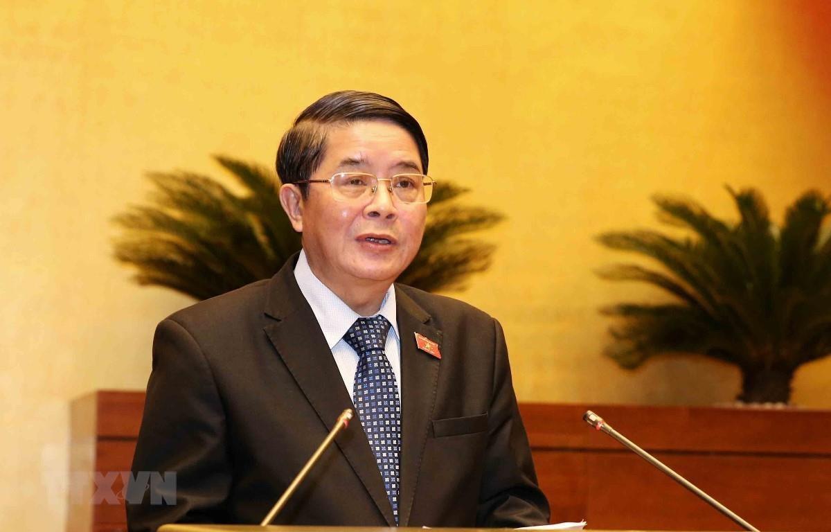Chủ nhiệm Ủy ban Tài chính, Ngân sách của Quốc hội Nguyễn Đức Hải trình bày Báo cáo giải trình, tiếp thu, chỉnh lý dự án Luật Đầu tư công (sửa đổi). (Ảnh: Phương Hoa/TTXVN)