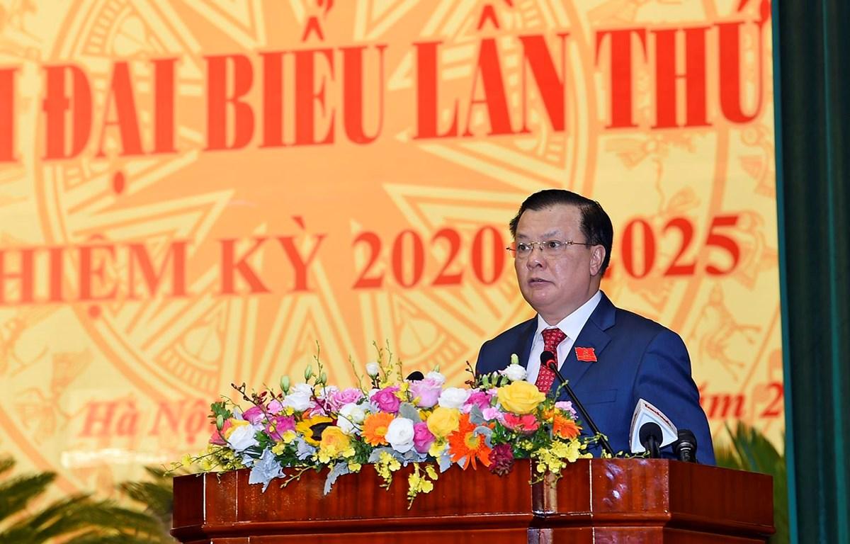 Bộ trưởng Bộ Tài chính Đinh Tiến Dũng phát biểu tại Đại hội Đảng bộ nhiệm kỳ 2020-2025, ngày 28/8. (Ảnh: BTC/Vietnam+)