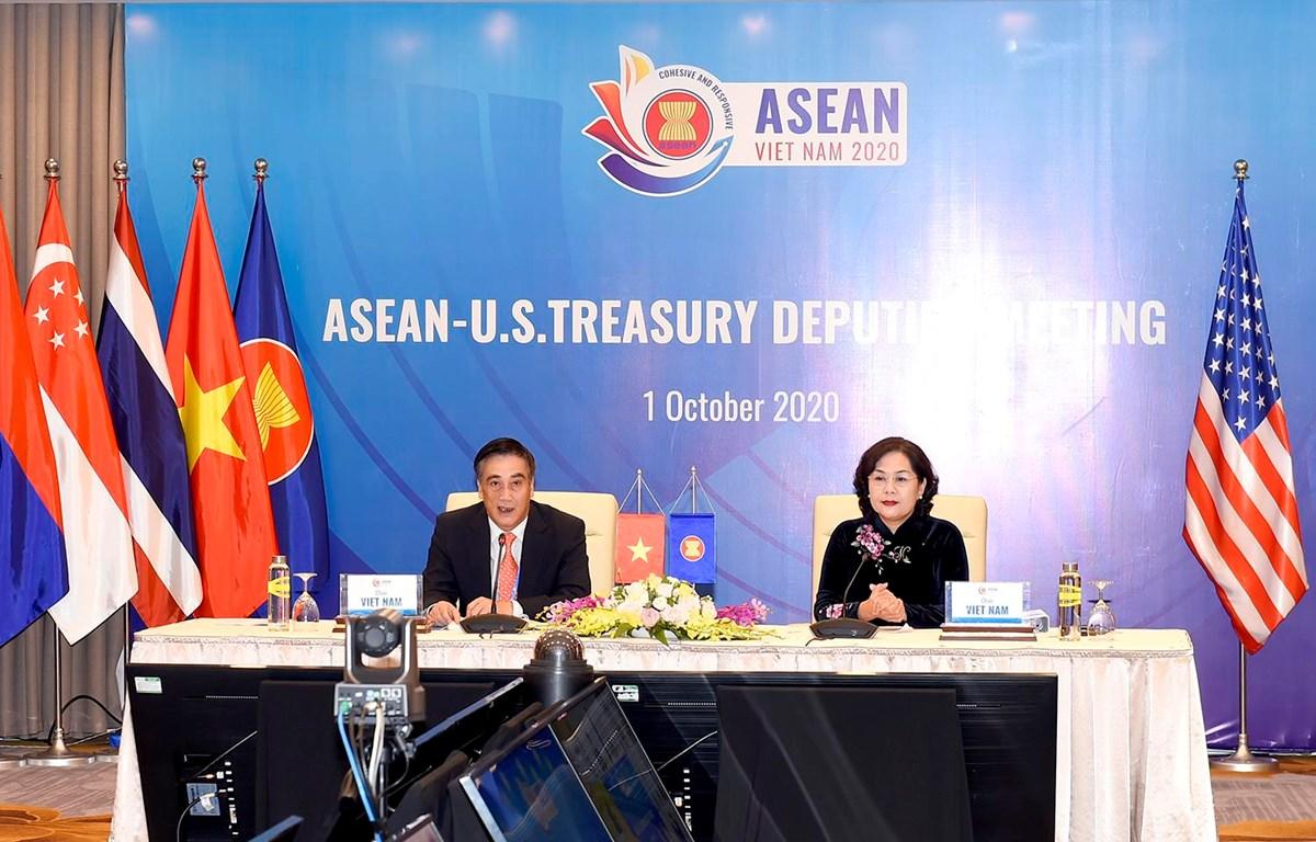 Hội nghị Thứ trưởng Tài chính và Phó Thống đốc Ngân hàng Trung  ương ASEAN và Thứ trưởng Tài chính Hoa Kỳ. (Ảnh: Vietnam+)
