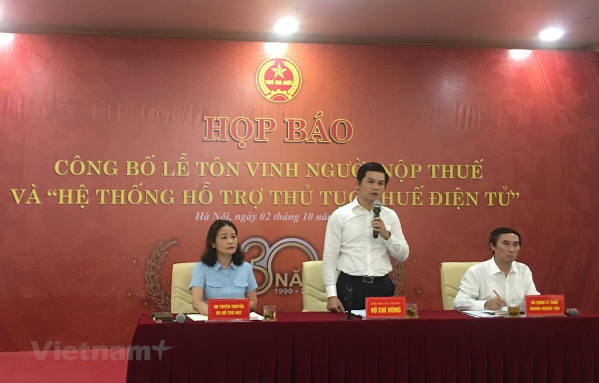 Họp báo công bố Lễ Tôn vinh Người nộp thuế và Hệ thống hỗ trợ thủ tục thuế điện tử, ngày 2/10. (Ảnh: Vietnam+)