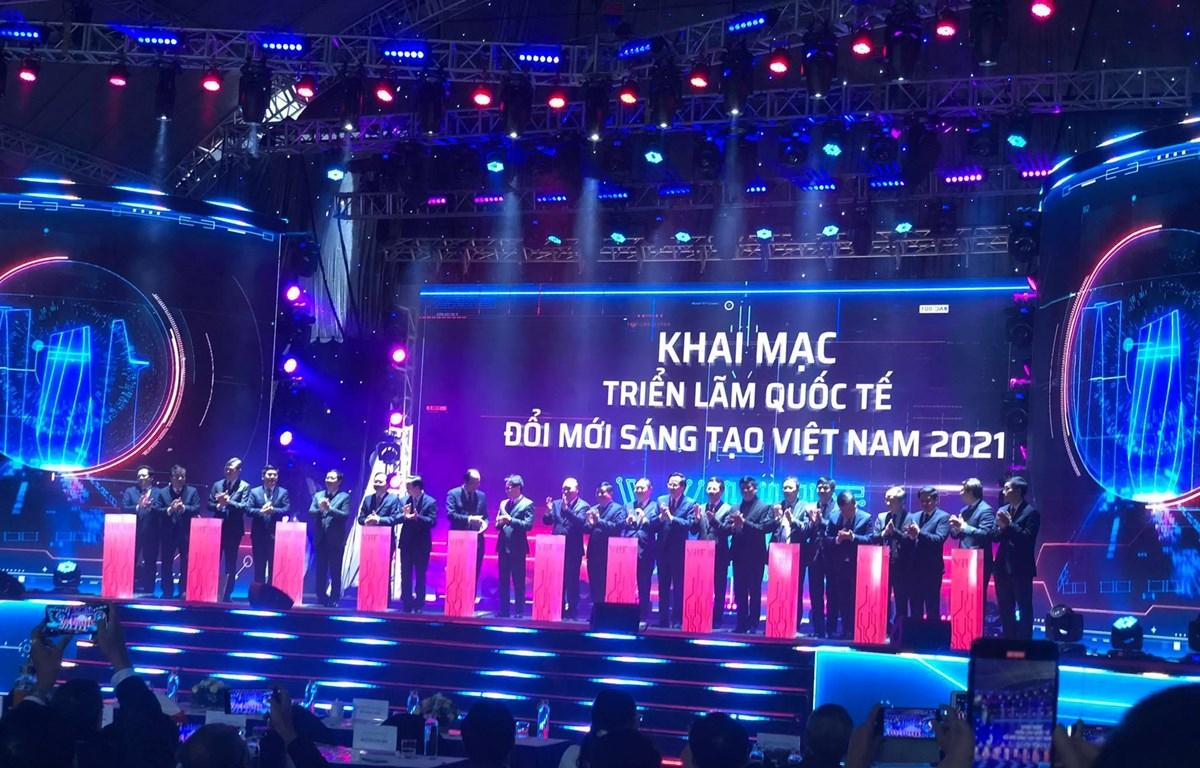 Khai mạc Triển lãm quốc tế Đổi mới sáng tạo Việt Nam 2021, ngày 9/1.  (Ảnh: Vietnam+)