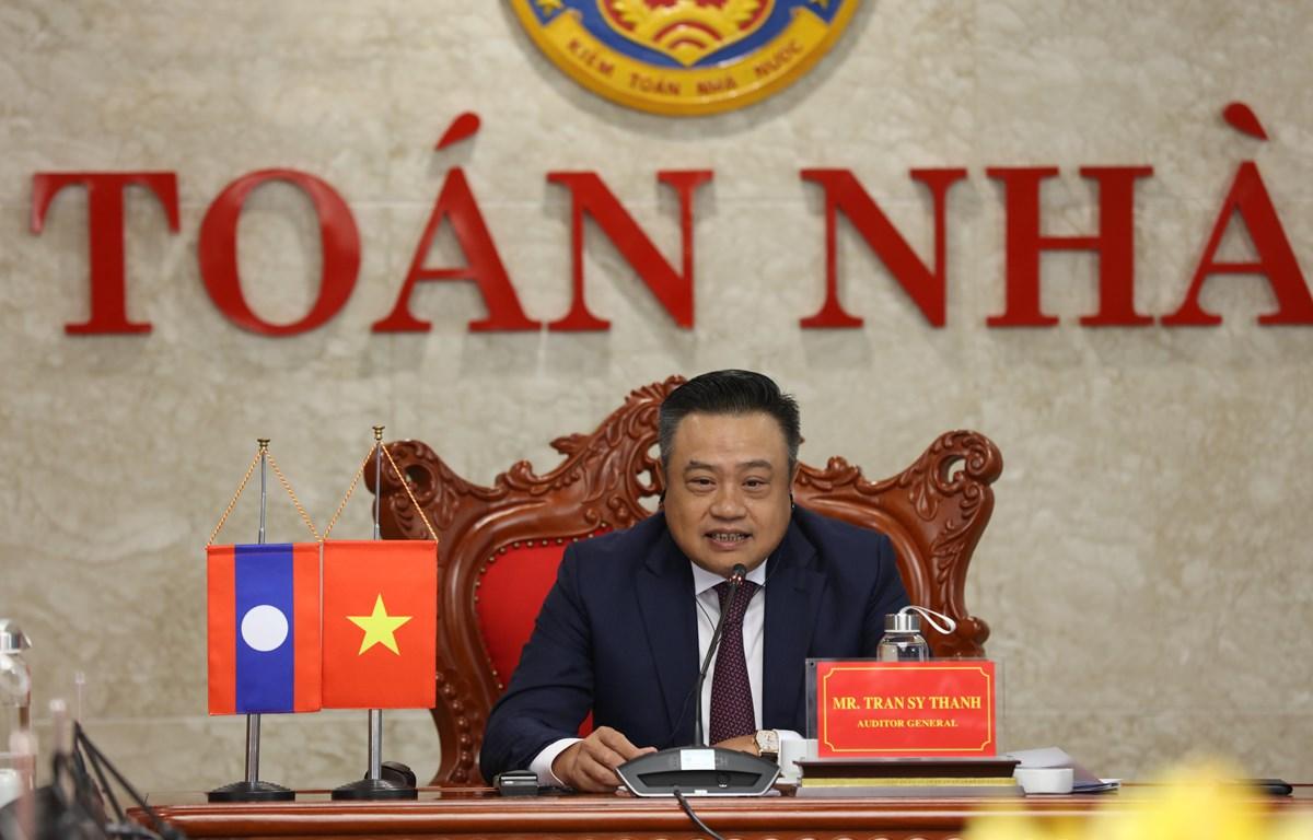 Tổng Kiểm toán nhà nước Việt Nam Trần Sỹ Thanh đã có cuộc hội đàm trực tuyến với Chủ tịch cơ quan Kiểm toán nhà nước Lào , ngày 19/7. (Ảnh: Vietnam+)