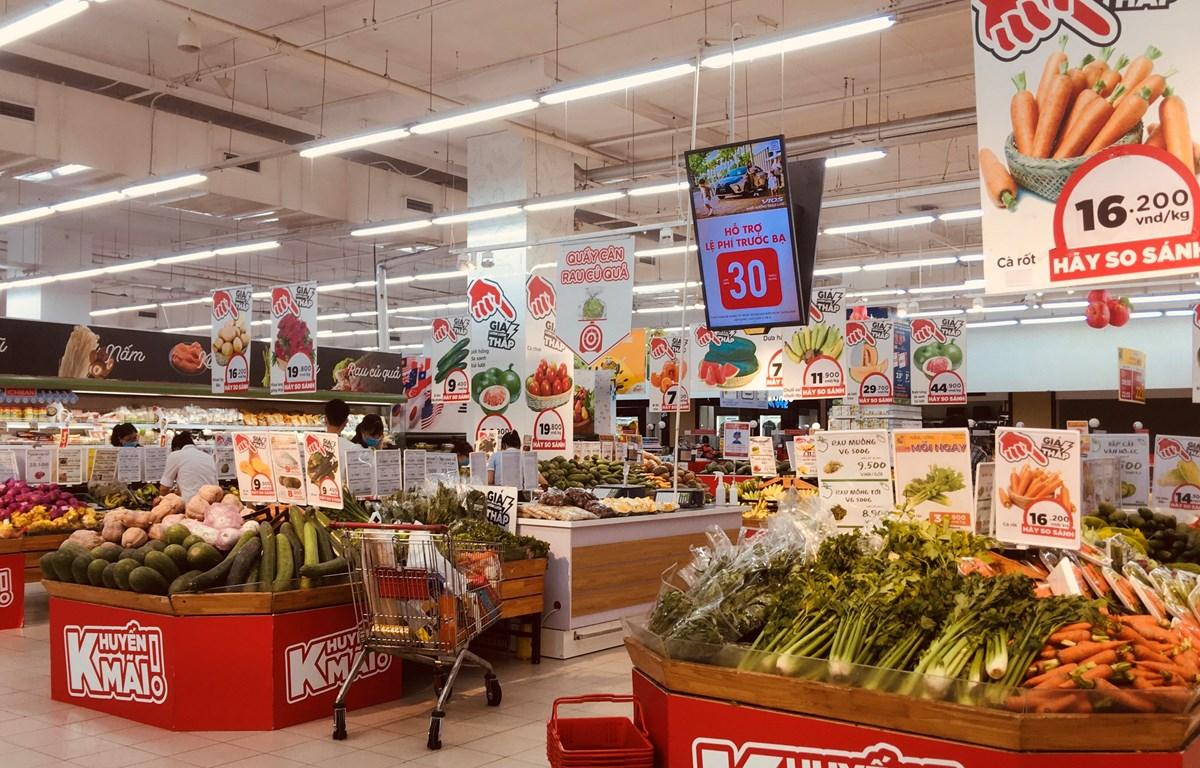 Giá lương thực, thực phẩm tăng tại các địa phương thực hiện giãn cách xã hội theo Chỉ thị 16/CT-TTg, đã tác động lên CPI tháng Tám. (Ảnh: Vietnam+)