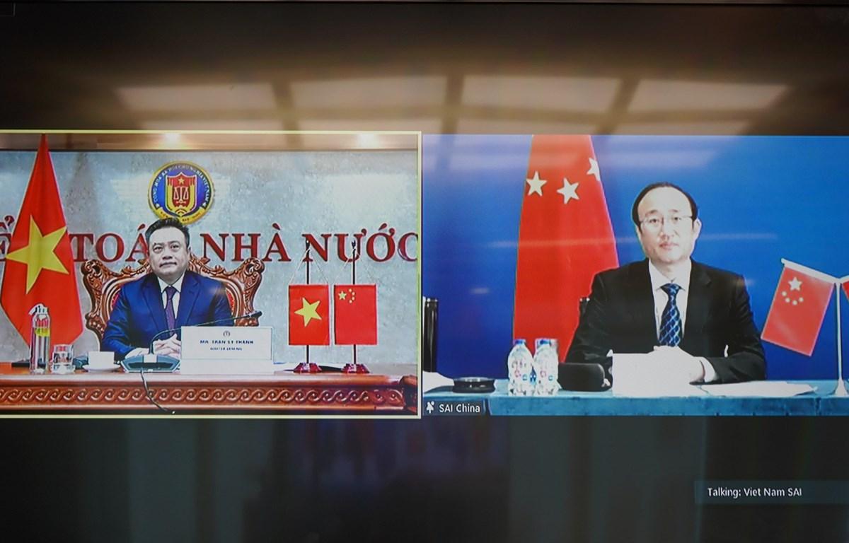Hội đàm cấp cao trực tuyến giữa Kiểm toán Nhà nước Việt Nam và Trung Quốc, ngày 30/8. (Ảnh: Vietnam+)