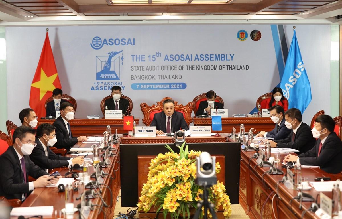 Lễ khai mạc Đại hội Tổ chức các Cơ quan Kiểm toán tối cao (SAI) châu Á (ASOSAI) lần thứ 15, ngày 7/9. (Ảnh: Vietnam+)