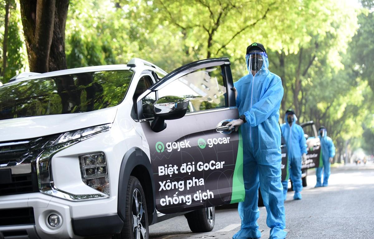 GoCar được ra mắt đầu tiên với 50 xe, chuyên chở lực lượng y tế tuyến đầu. (Ảnh: V.C/Vietnam+)