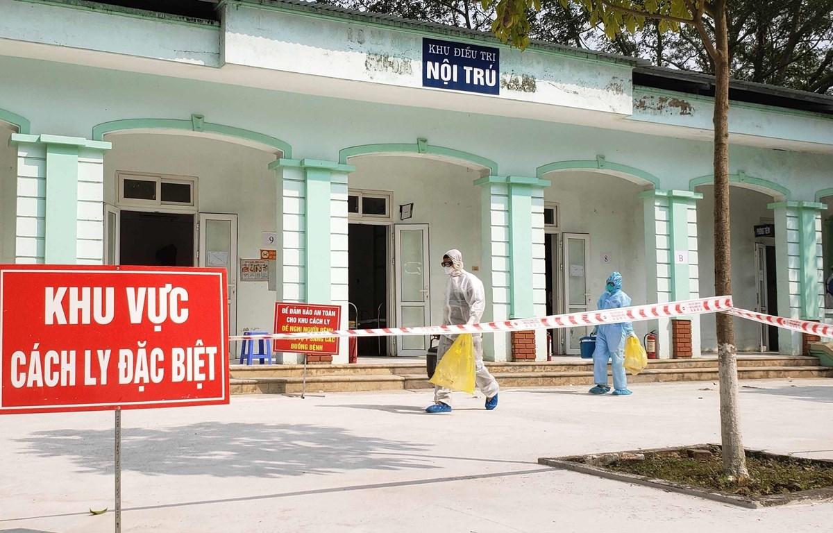 Khu nhà B dành cho bệnh nhân dương tính với Covid 19 tại Phòng khám đa khoa Quang Hà, Vĩnh Phúc. (Ảnh: Hoàng Hùng/TTXVN)