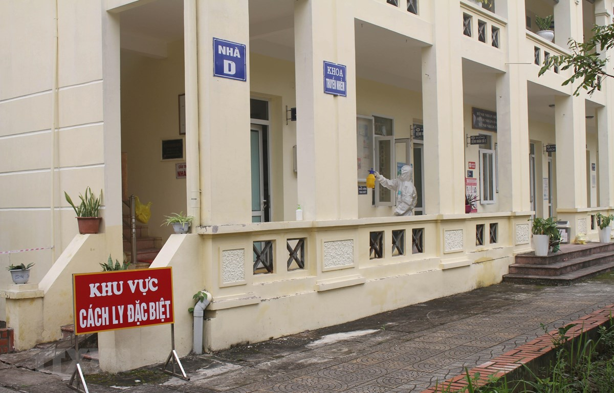 Khu vực cách ly tại Trung tâm Y tế huyện Hoa Lư, tỉnh Ninh Bình. (Ảnh: Thùy Dung/TTXVN)