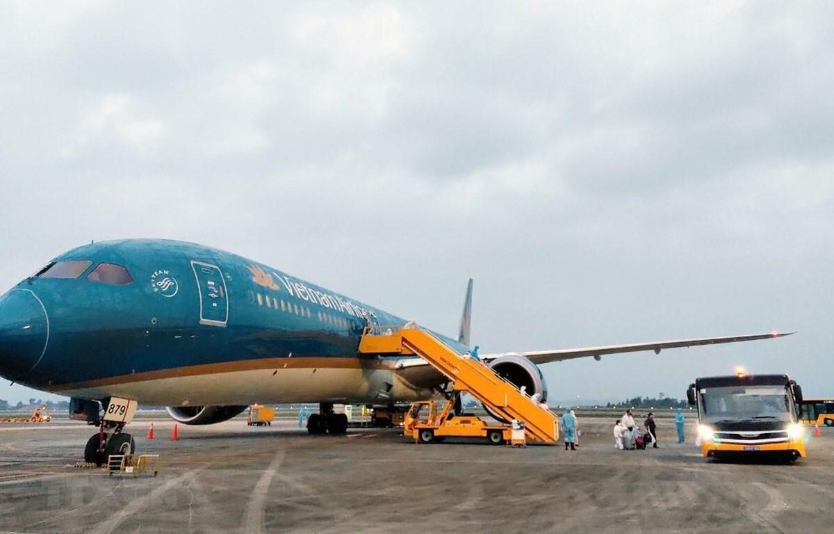 Máy bay Airbus 350 mang số hiệu VN62 của Hãng hàng không Vietnam Airlines đưa 345 người Việt từ Liên bang Nga về Việt Nam. (Ảnh: TTXVN)