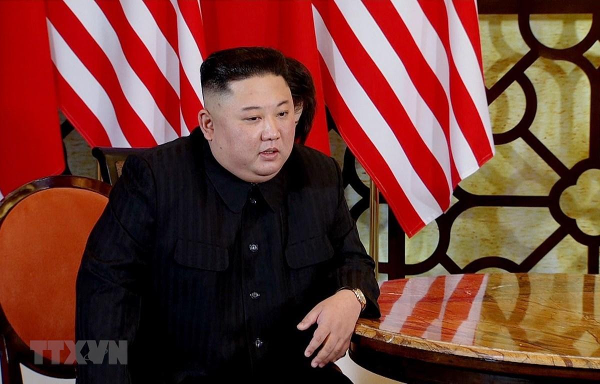 Chủ tịch Triều Tiên Kim Jong-un tại cuộc gặp. (Ảnh: TTXVN)