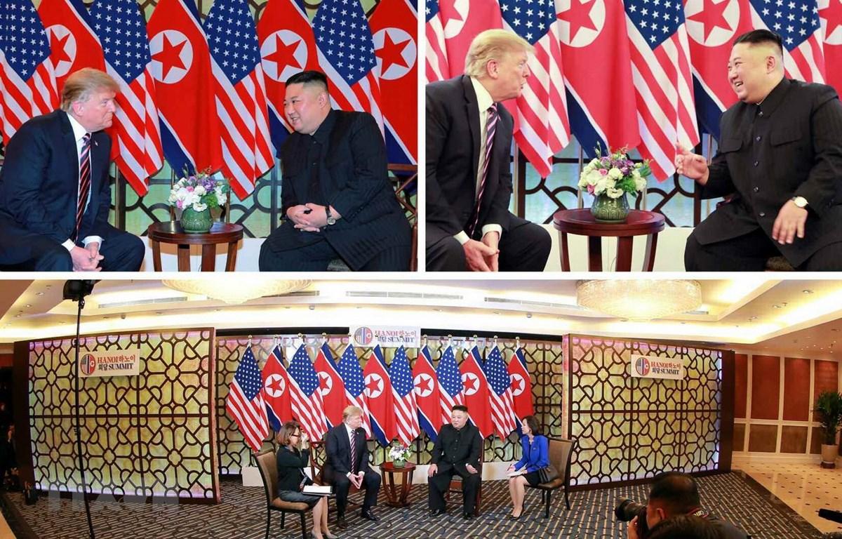 Các hình ảnh do báo Rodong Sinmun, cơ quan ngôn luận của Đảng Lao động Triều Tiên, đăng phát về cuộc gặp giữa Tổng thống Mỹ Donald Trump (trái) và Chủ tịch Triều Tiên Kim Jong-un tại Hội nghị thượng đỉnh Mỹ-Triều lần hai ở Hà Nội ngày 27/2. (Nguồn: YONHAP