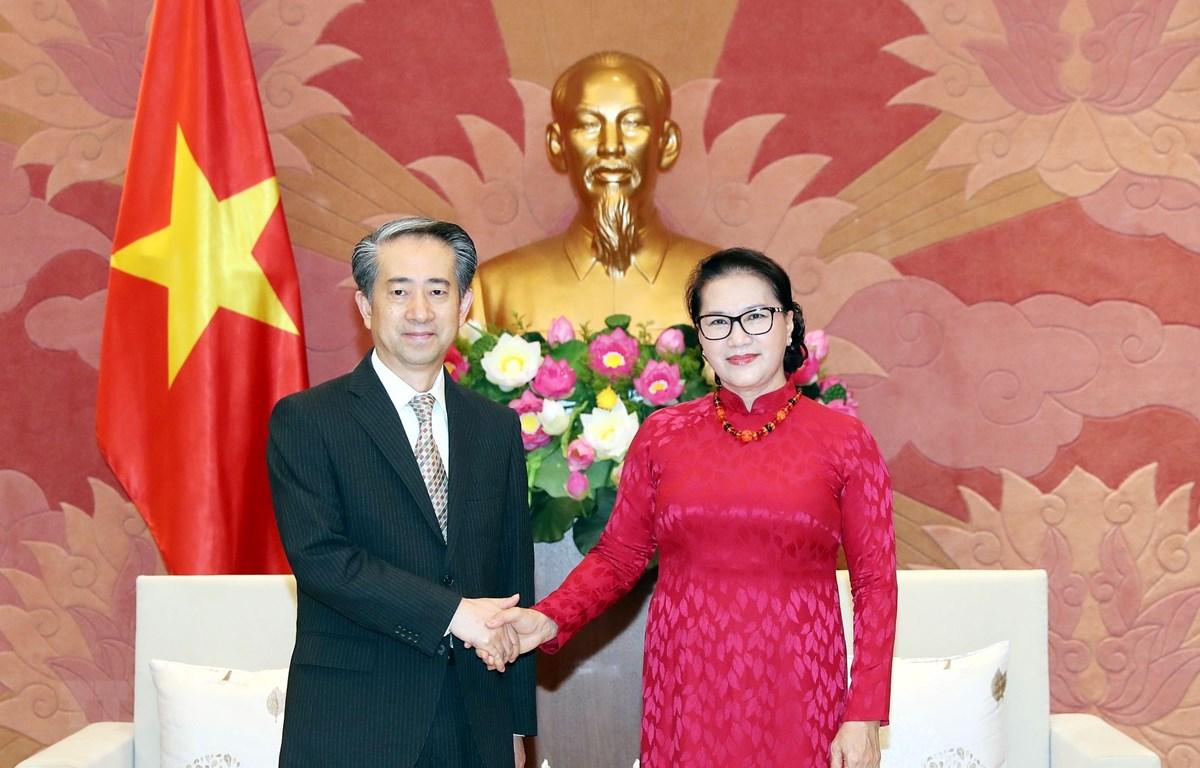 Chủ tịch Quốc hội Nguyễn Thị Kim Ngân tiếp Đại sứ Đặc mệnh toàn quyền Cộng hòa Nhân dân Trung Hoa tại Việt Nam Hùng Ba. (Ảnh: Trọng Đức/TTVN)