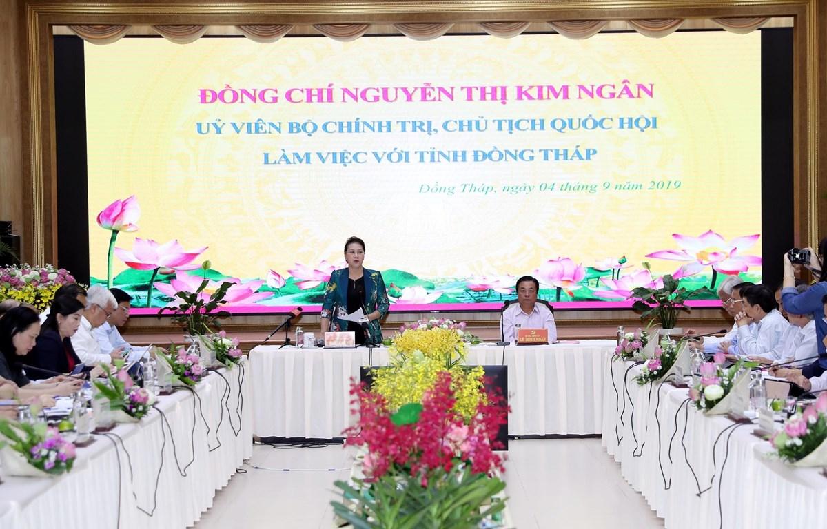 Chủ tịch Quốc hội Nguyễn Thị Kim Ngân phát biểu kết luận buổi làm việc. (Ảnh: Trọng Đức/TTXVN)