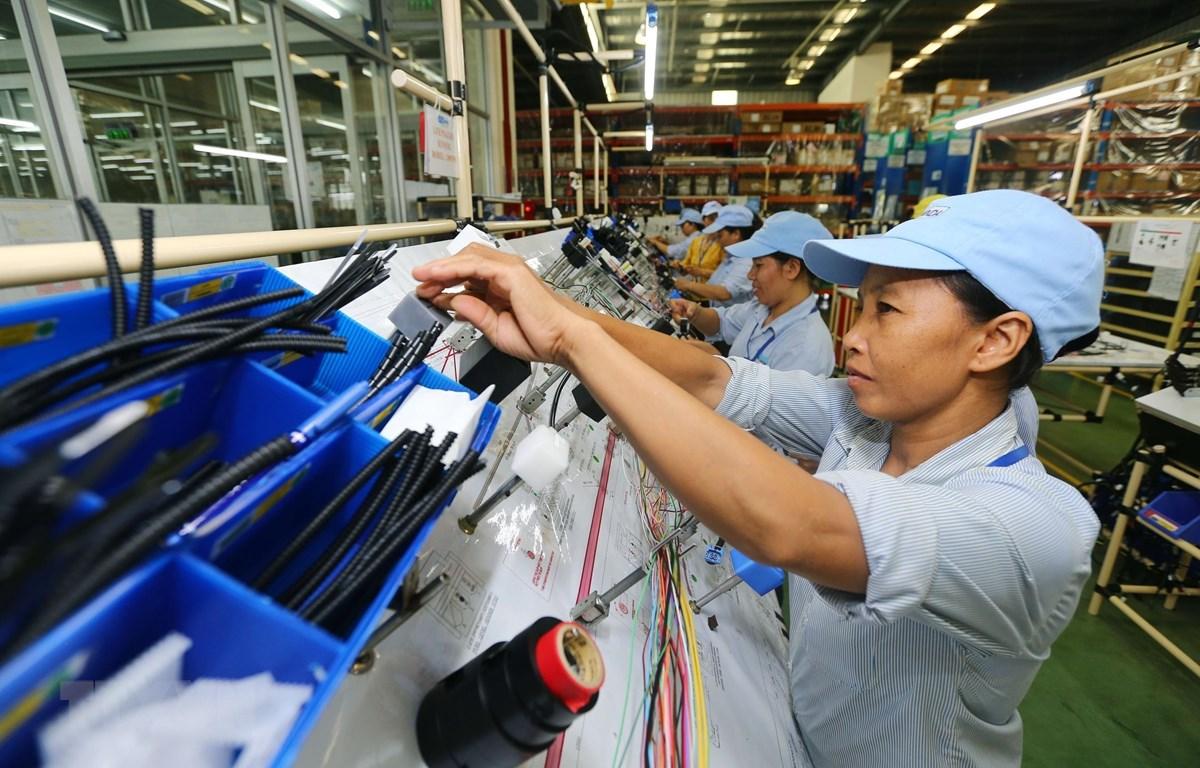 Dây chuyền sản xuất linh kiện điện điện tử. (Ảnh: Danh Lam/TTXVN)