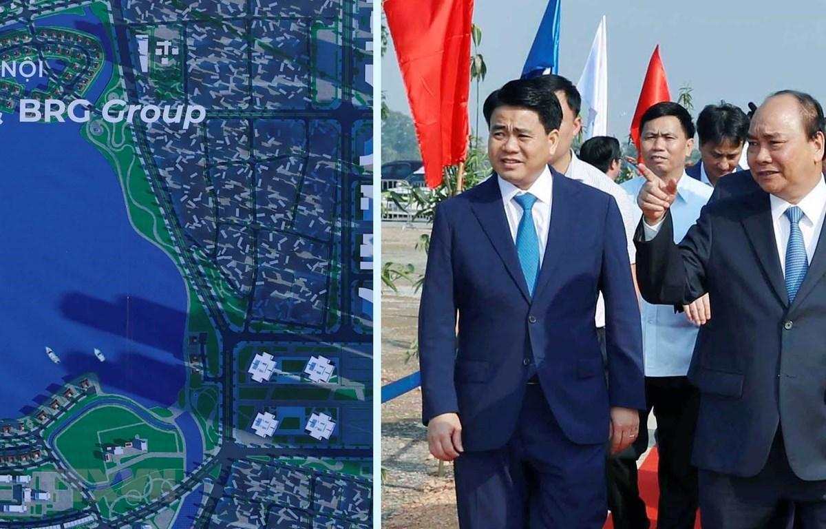 Thủ tướng Nguyễn Xuân Phúc và các đại biểu dự Lễ khởi công. (Ảnh: Thống Nhất/TTXVN)