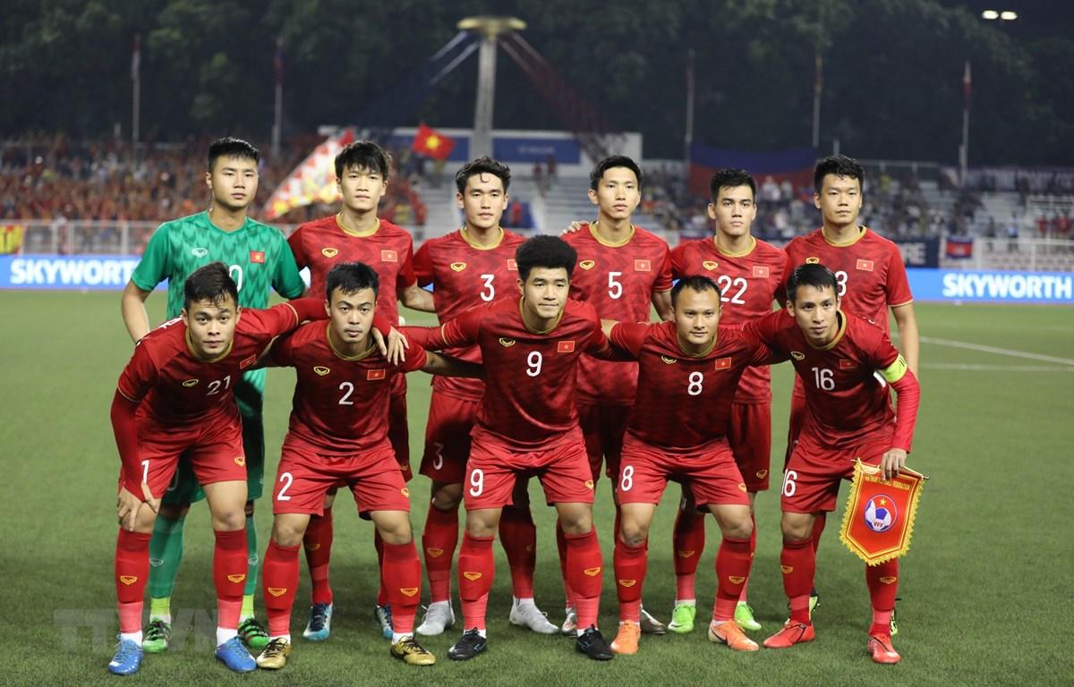 Đội hình xuất phát của U22 Việt Nam trong trận bán kết trước Campuchia. (Ảnh: Hoàng Linh/TTXVN)