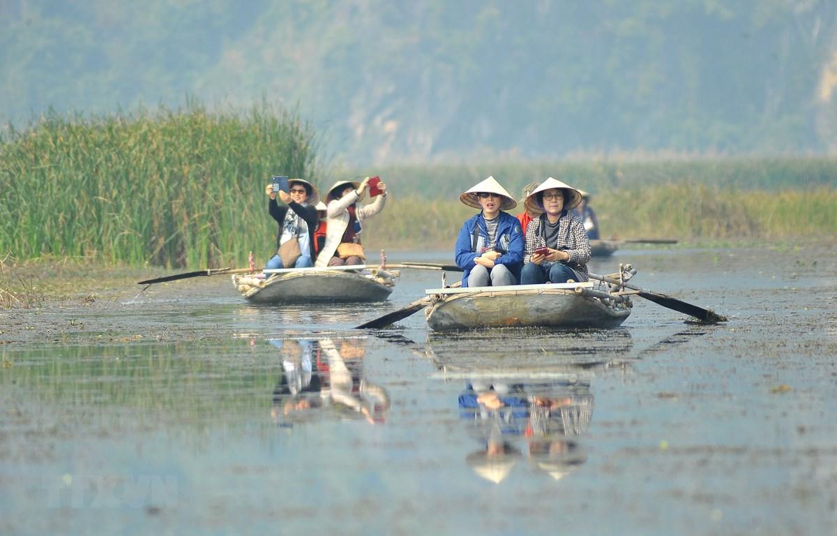 Du khách trong và ngoài nước tham quan khu bảo tồn thiên nhiên đất ngập nước Vân Long bằng thuyền. (Ảnh: Minh Đức/TTXVN)