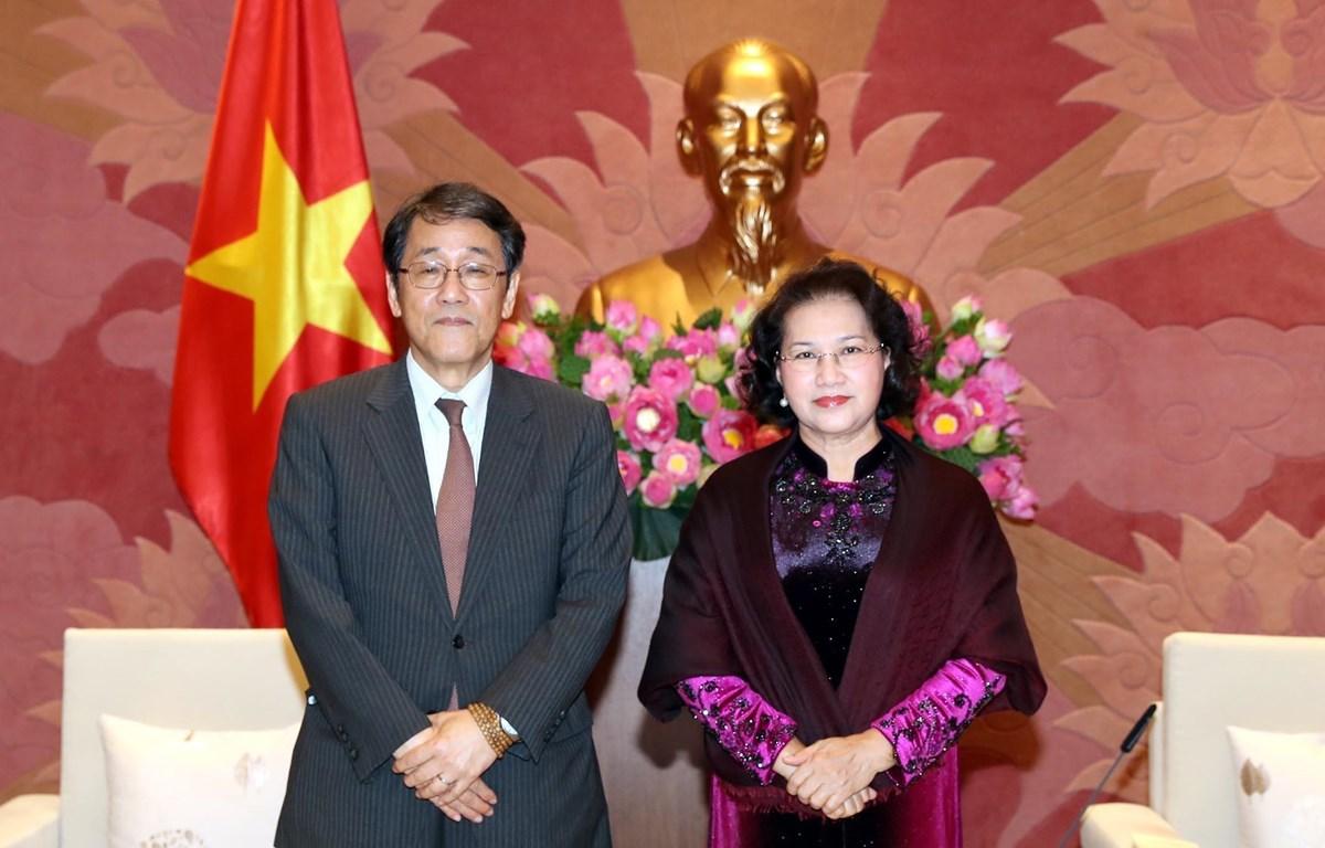 Chủ tịch Quốc hội Nguyễn Thị Kim Ngân tiếp Đại sứ Đặc mệnh toàn quyền Nhật Bản tại Việt Nam Umeda Kunio đến chào từ biệt nhân dịp kết thúc nhiệm kỳ công tác. (Ảnh: Trọng Đức/TTXVN)