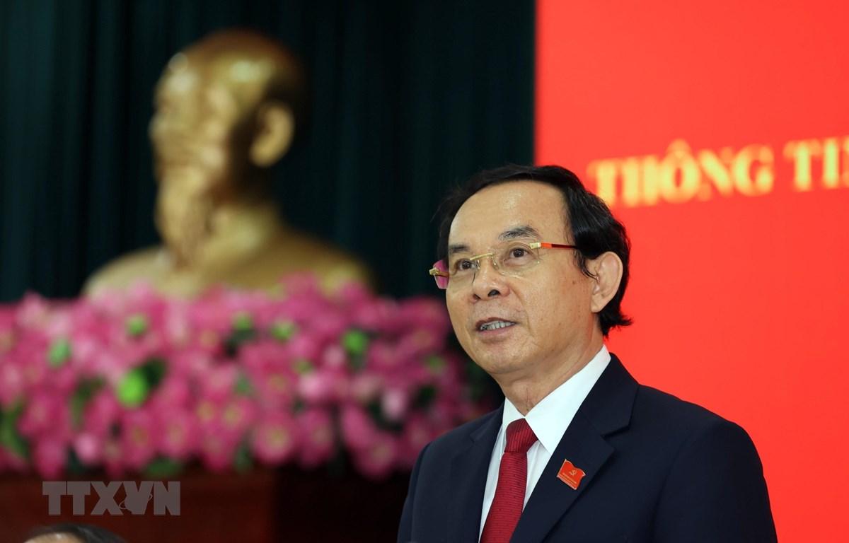 Ông Nguyễn Văn Nên, Bí thư Trung ương Đảng, Bí thư Thành ủy Thành phố Hồ Chí Minh nhiệm kỳ 2020-2025 phát biểu tại buổi họp báo. (Ảnh: Xuân Khu/TTXVN)