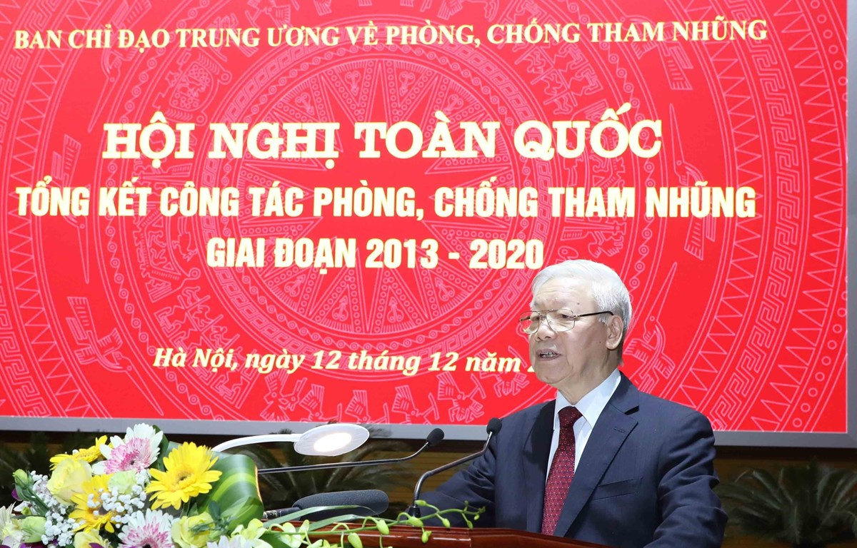 Tổng Bí thư, Chủ tịch nước Nguyễn Phú Trọng, Trưởng Ban Chỉ đạo Trung ương về phòng, chống tham nhũng phát biểu kết luận hội nghị. (Ảnh: Phương Hoa/TTXVN)