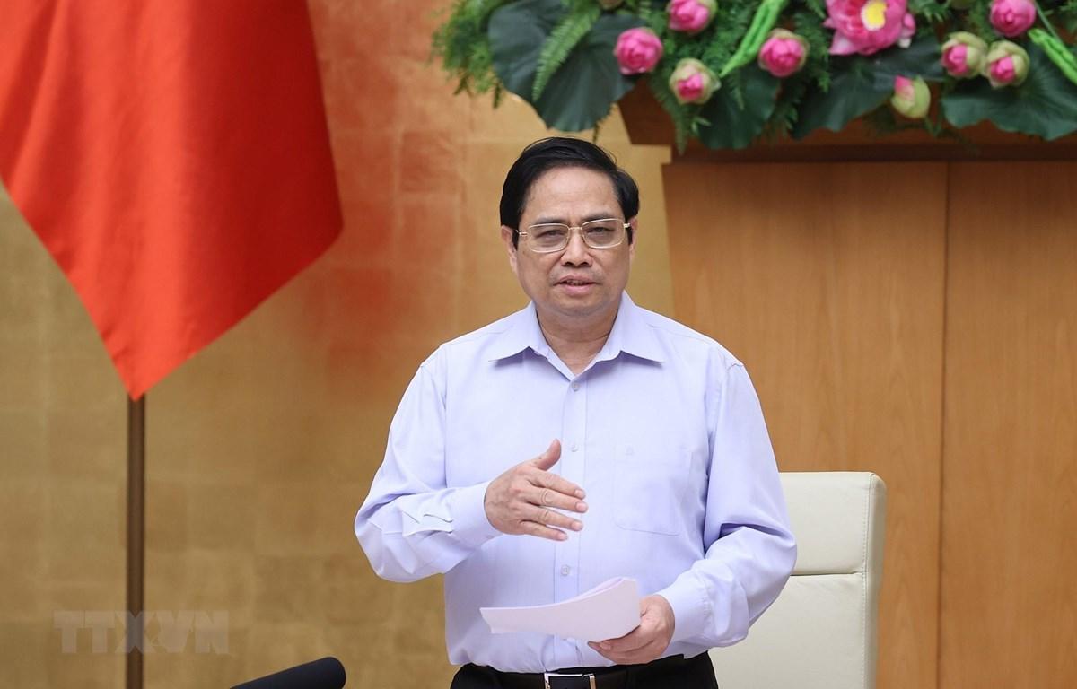 Thủ tướng Phạm Minh Chính phát biểu kết luận phiên họp. (Ảnh: Dương Giang/TTXVN)