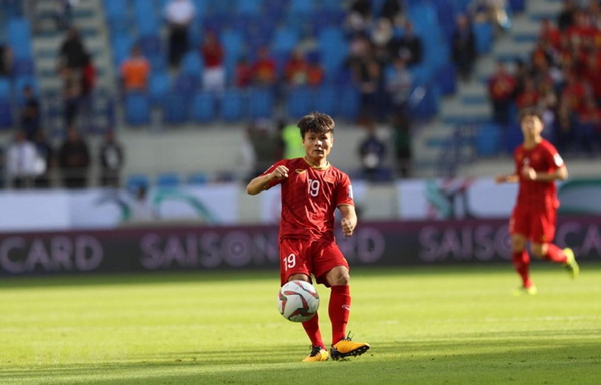 Tiền vệ Quang Hải của đội tuyển Việt Nam đã thi đấu xuất sắc trong các trận đấu ở vòng bảng Asian Cup 2019. (Ảnh: Hoàng Linh/TTXVN)