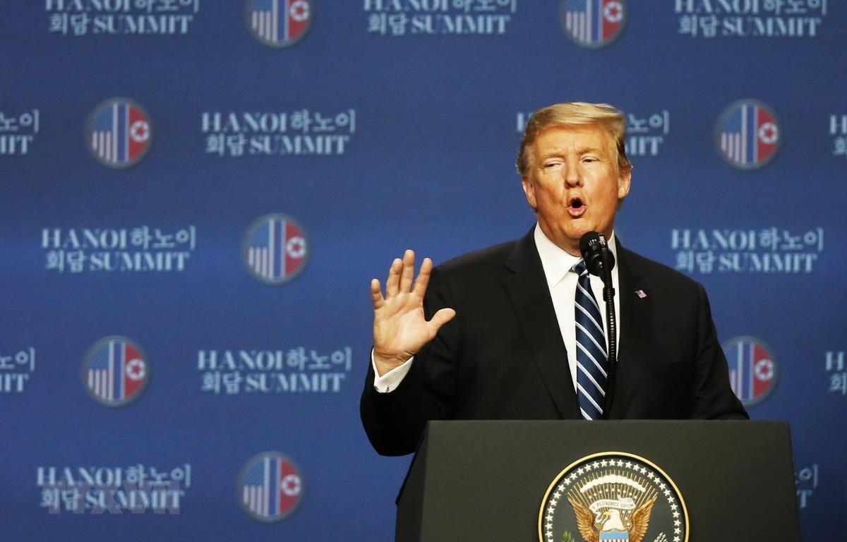 Tổng thống Mỹ Donald Trump phát biểu tại họp báo. (Ảnh: Lâm Khánh/TTXVN)
