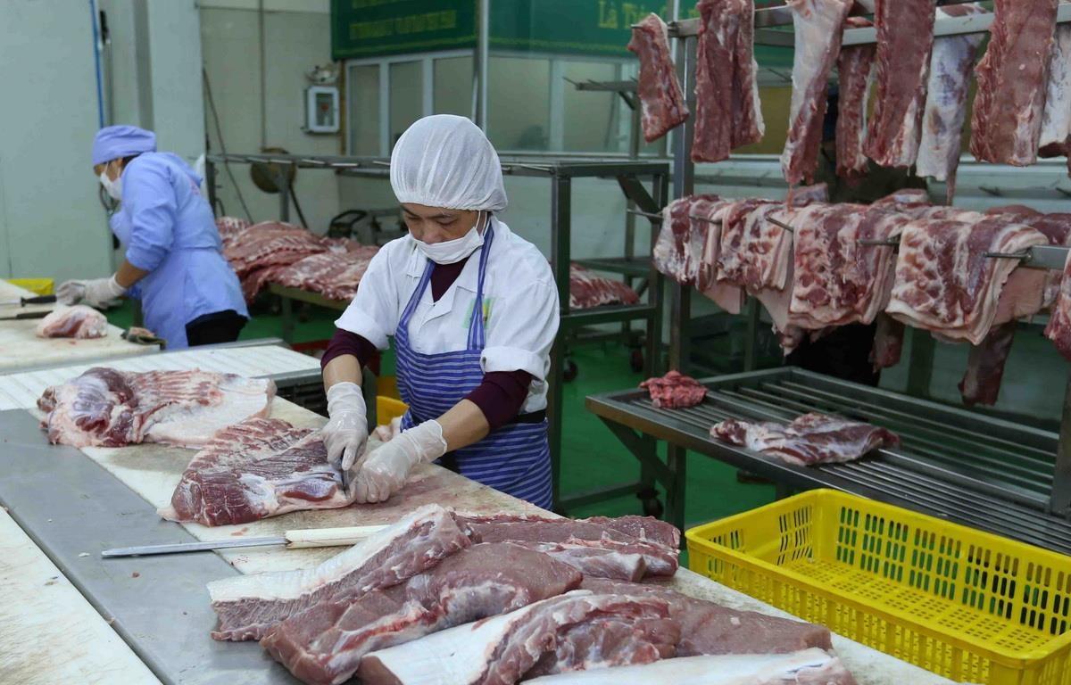Chế biến thịt lợn tại nhà máy của Công ty Cổ phần Công nghệ thực phẩm Vinh Anh, huyện Thường Tín, Hà Nội. (Ảnh: Vũ Sinh/TTXVN)