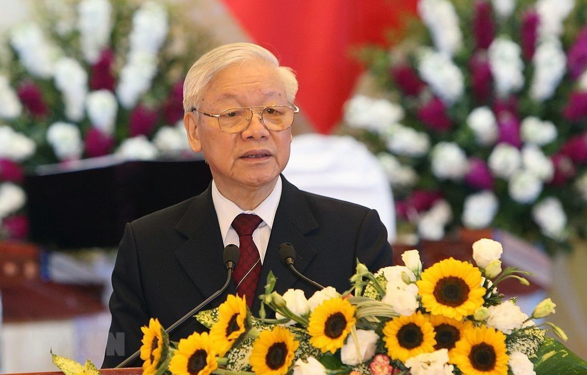 Tổng Bí thư, Chủ tịch nước Nguyễn Phú Trọng phát biểu chào mừng Quốc vương Brunei Hassanal Bolkiah. (Ảnh: Dương Giang/TTXVN)