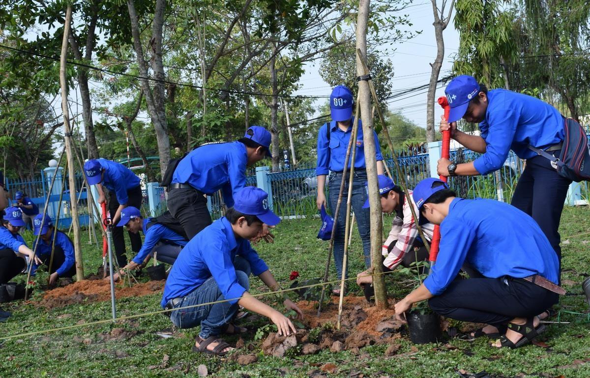 """Đoàn viên thanh niên trồng cây """"vì môi trường xanh trong tương lai"""" tại Trường Trung học phổ thông Lấp Vò 2, huyện Cao Lãnh, tỉnh Đồng Tháp. (Ảnh: Chương Đài/TTXVN)"""