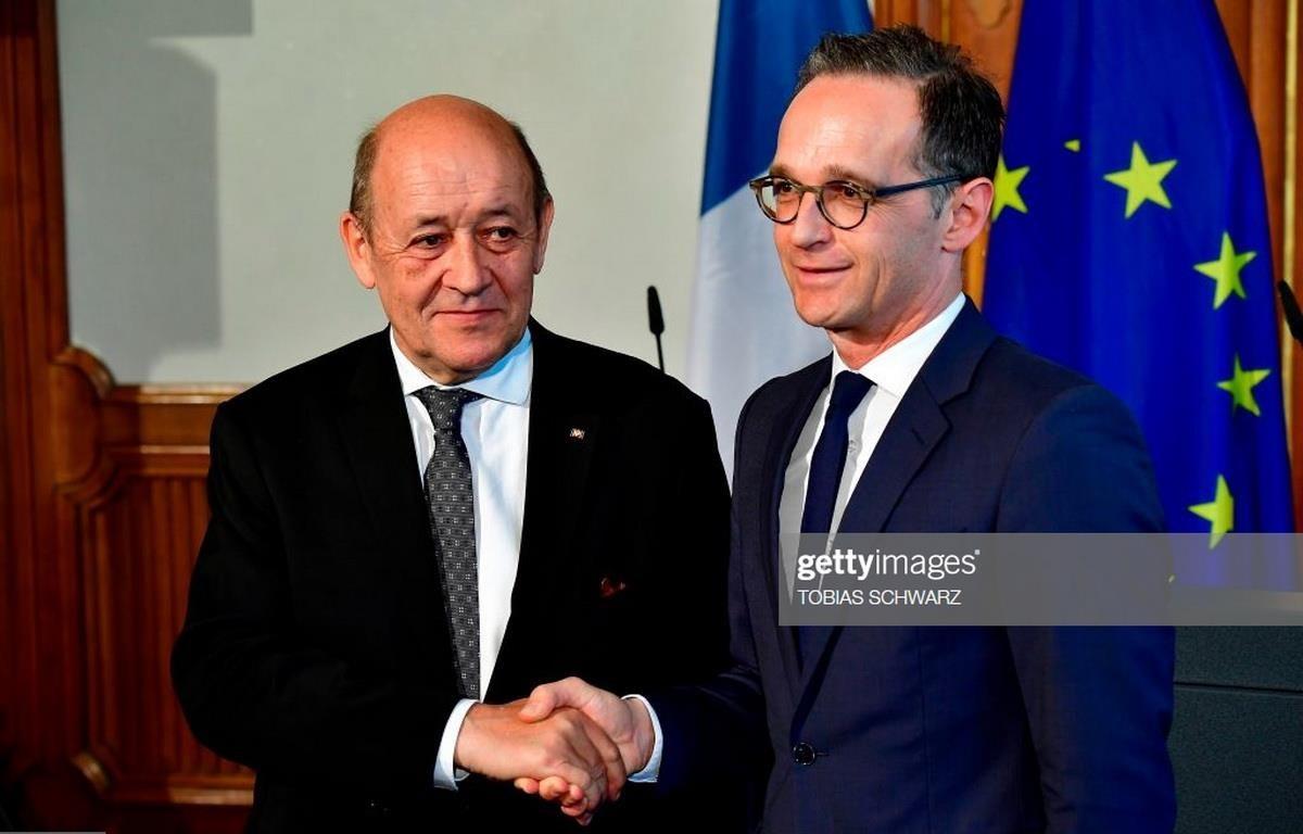 Ngoại trưởng Pháp Jean-Yves Le Drian và người đồng cấp Đức Heiko Maas. (Nguồn: Getty Images/AFP)