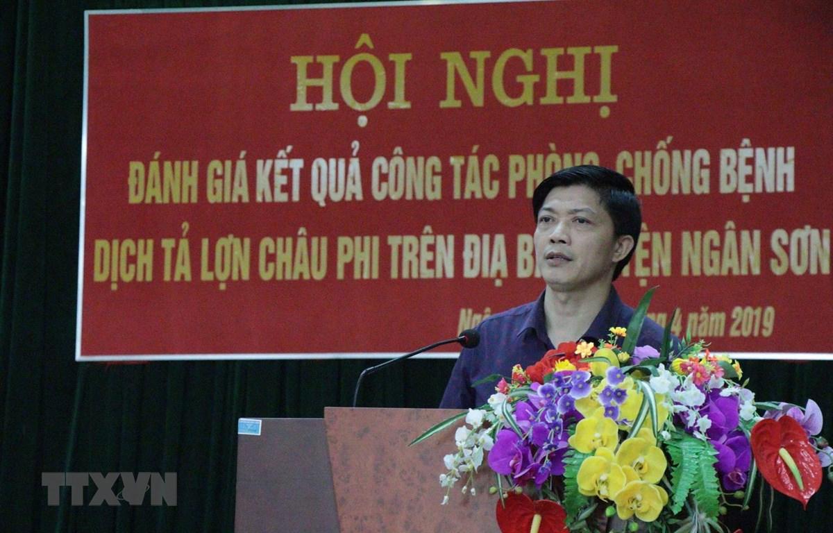 Ông Doanh Thiêm Huy, Phó Chủ tịch UBND huyện Ngân Sơn công bố hết dịch tả lợn châu Phi. (Ảnh: Vũ Hoàng Giang/TTXVN)