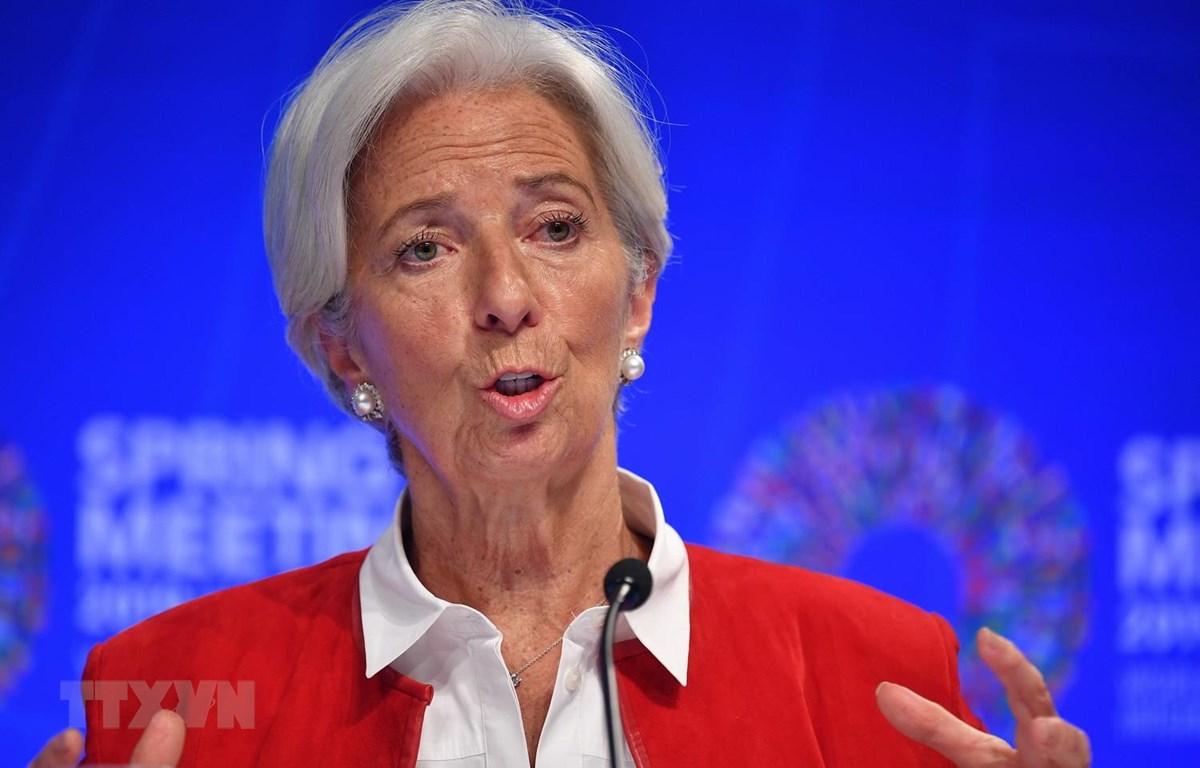 Tổng Giám đốc Quỹ Tiền tệ quốc tế (IMF) Christine Lagarde tại cuộc họp báo trong khuôn khổ Hội nghị mùa Xuân của IMF và WB tại Washington của Mỹ ngày 11/4. (Ảnh: AFP/TTXVN)