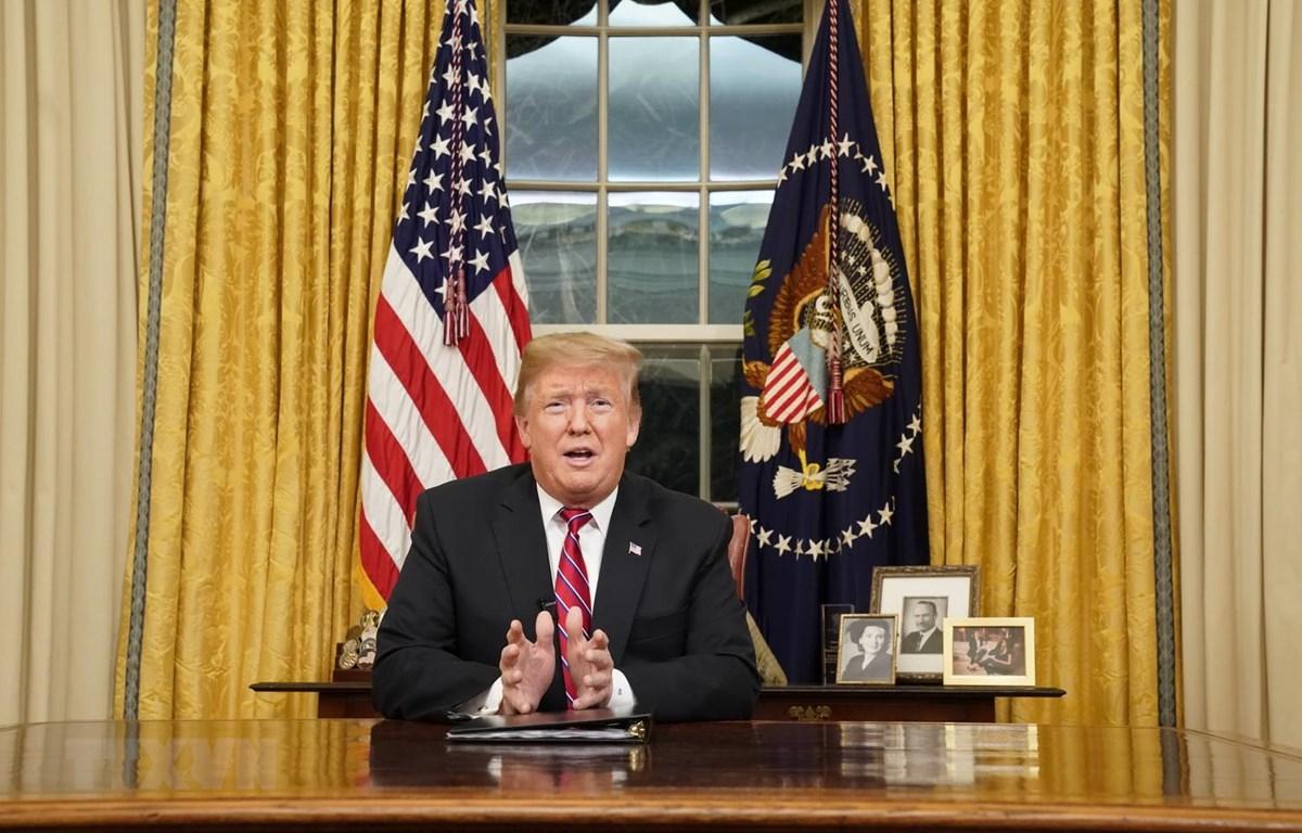 Tổng thống Mỹ Donald Trump phát biểu tại Nhà Trắng. (Ảnh: AFP/TTXVN)