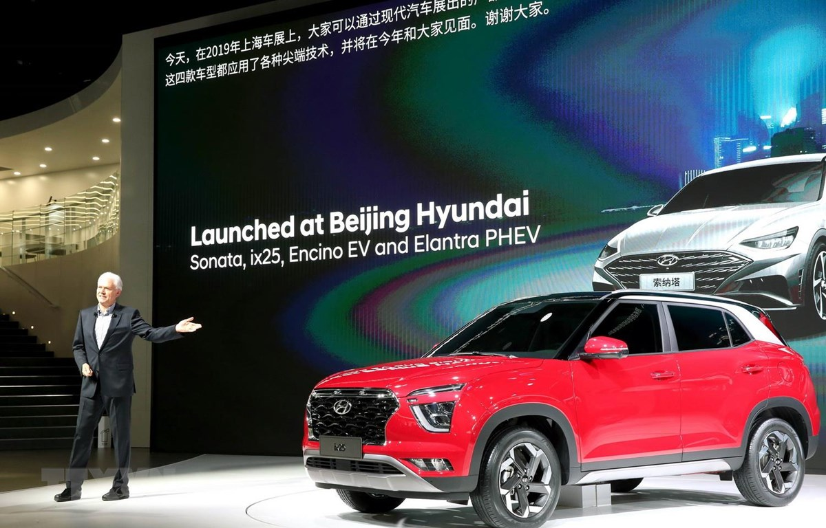 Mẫu xe hơi SUV ix25 được Tập đoàn sản xuất xe ôtô Hyundai của Hàn Quốc giới thiệu tại Triển lãm ôtô quốc tế Thượng Hải ngày 16/4. (Ảnh: Yonhap/TTXVN)