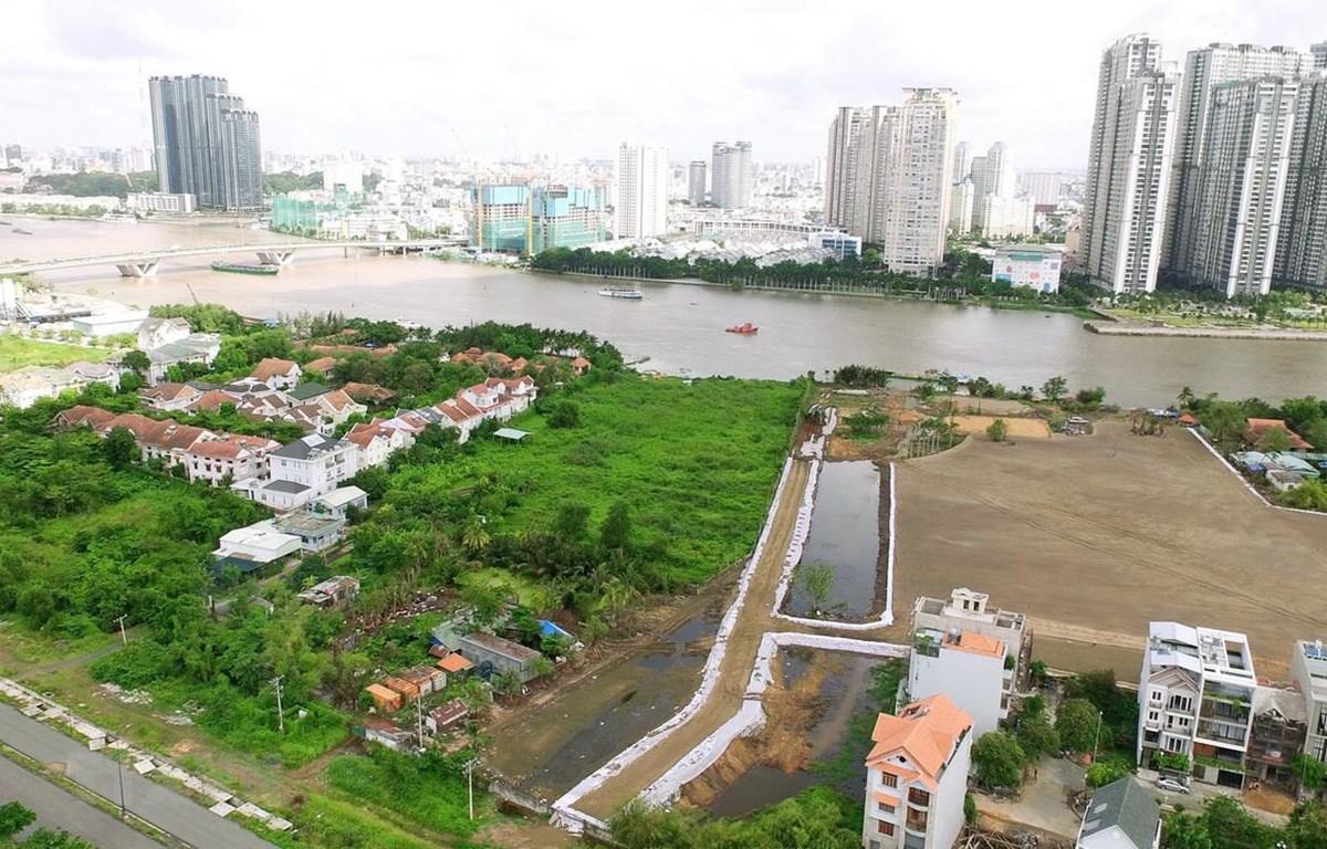 Một góc Khu đô thị mới Thủ Thiêm. (Ảnh: Quang Nhựt/TTXVN)