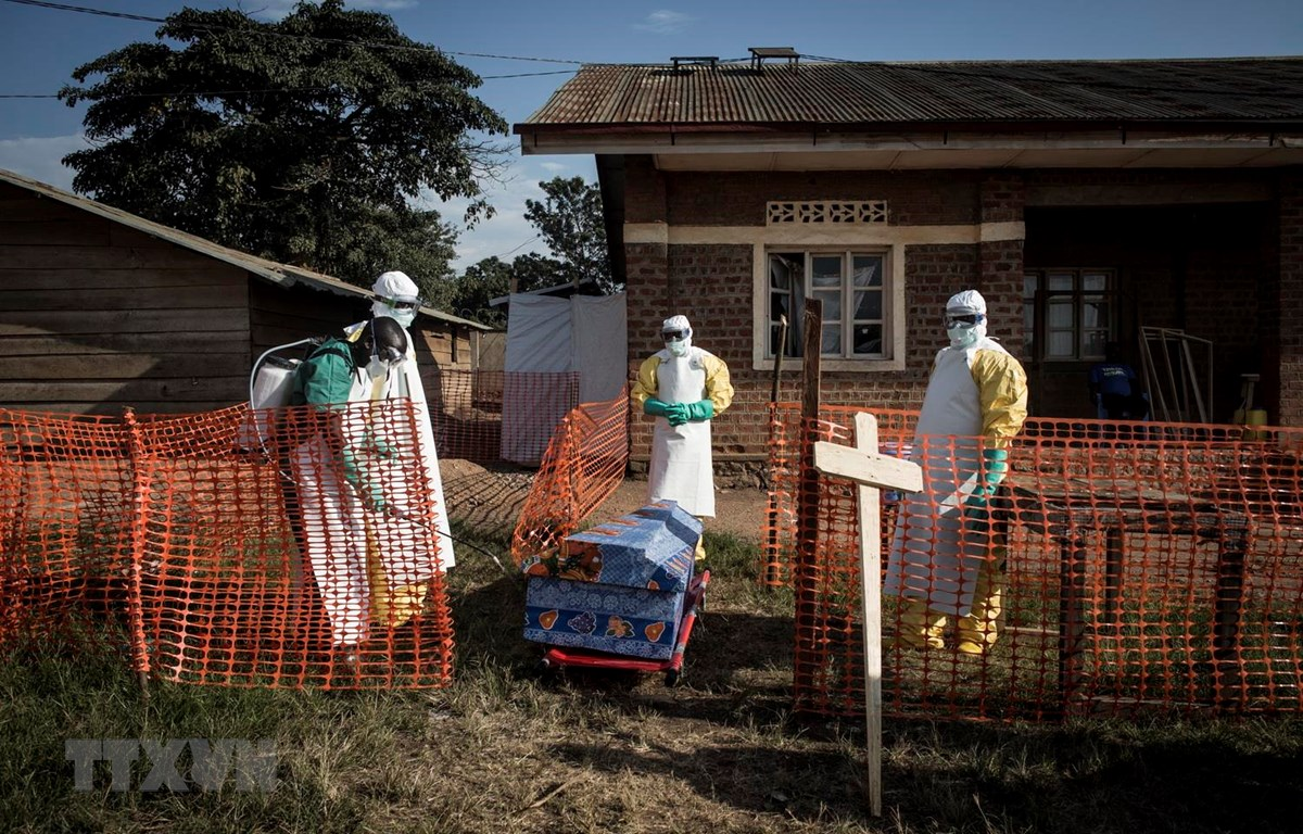 Nhân viên y tế phun thuốc khử trùng quanh quan tài của một bệnh nhân nhiễm Ebola tại Beni, CHDC Congo, ngày 13/8/2018. (Ảnh: AFP/TTXVN)