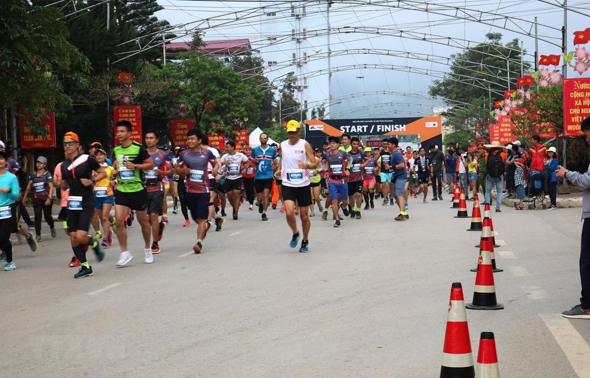Các vận động viên xuất phát chạy cự ly 10km. (Ảnh: Minh Tâm/TTXVN)