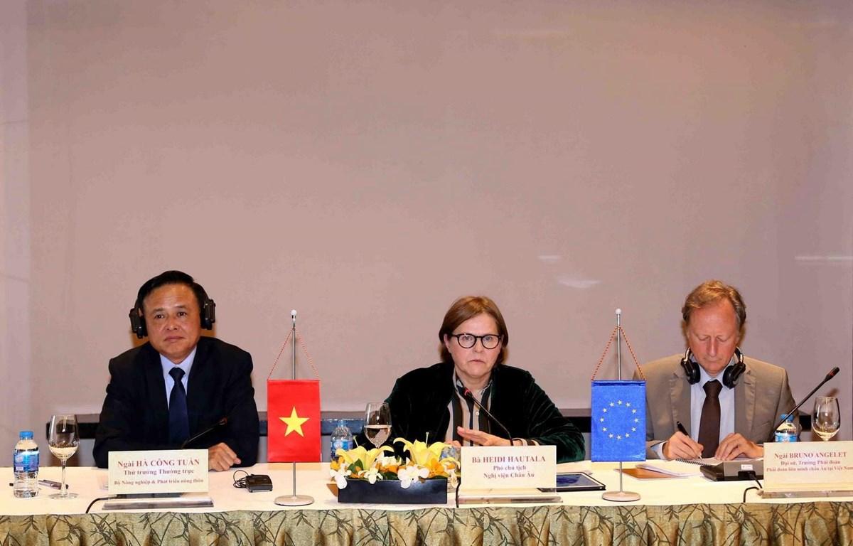 Thứ trưởng Thường trực Bộ Nông nghiệp và Phát triển Nông thôn Hà Công Tuấn (trái), Phó Chủ tịch Nghị viện Châu Âu Heidi Hautala (giữa), Trưởng Phái đoàn Liên minh châu Âu tại Việt Nam Bruno Angelet (phải) tại buổi họp. (Ảnh: Vũ Sinh/TTXVN)