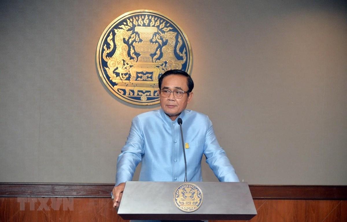 Thủ tướng Thái Lan Prayut Chan-o-cha tại một cuộc họp báo ở Bangkok. (Ảnh: THX/TTXVN)