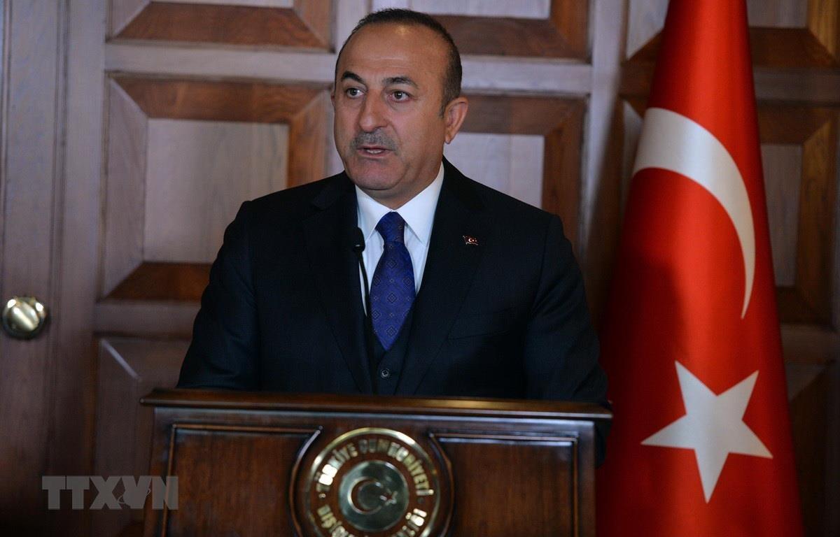 Ngoại trưởng Thổ Nhĩ Kỳ Mevlut Cavusoglu tại cuộc họp báo ở Ankara. (Ảnh: THX/TTXVN)
