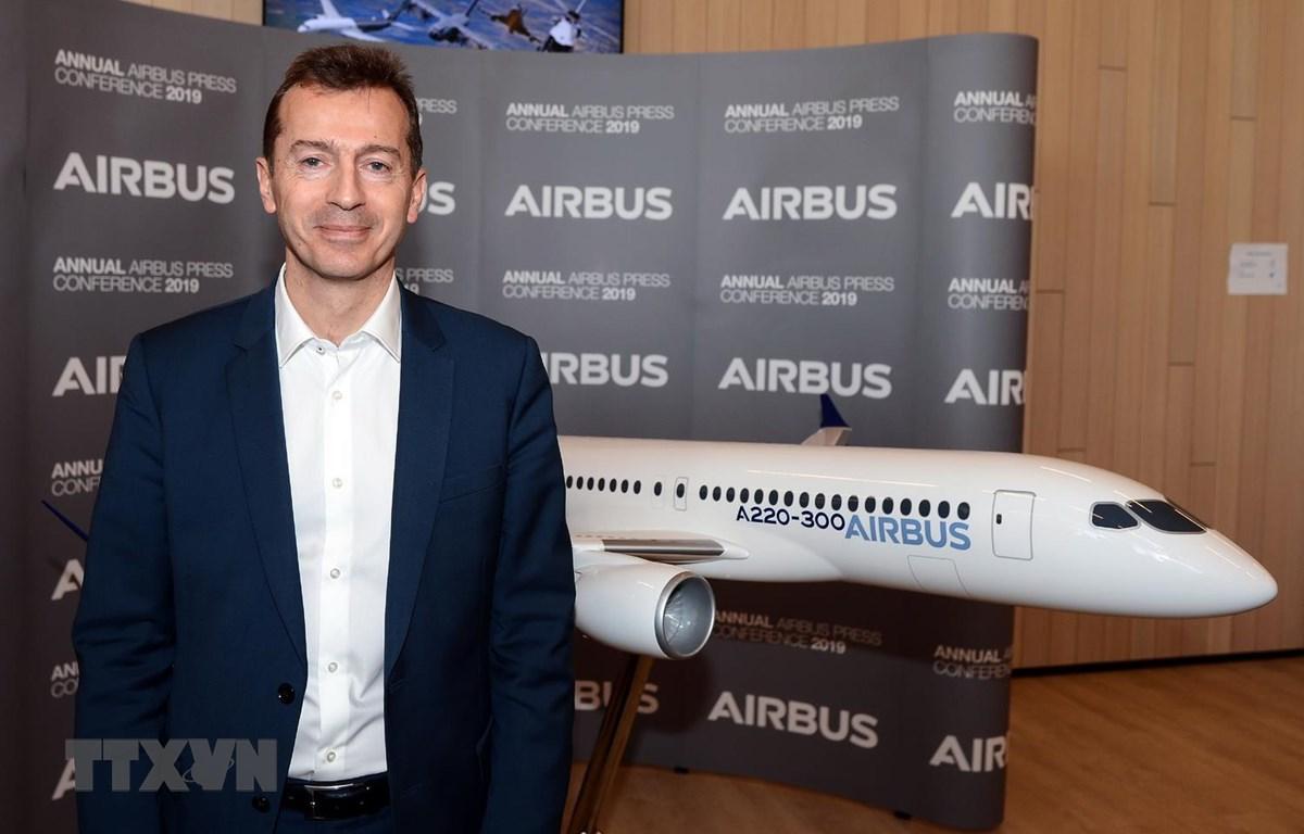 Ông Guillaume Faury tại sự kiện công bố kết quả kinh doanh thường niên của Airbus. (Ảnh: AFP/TTXVN)