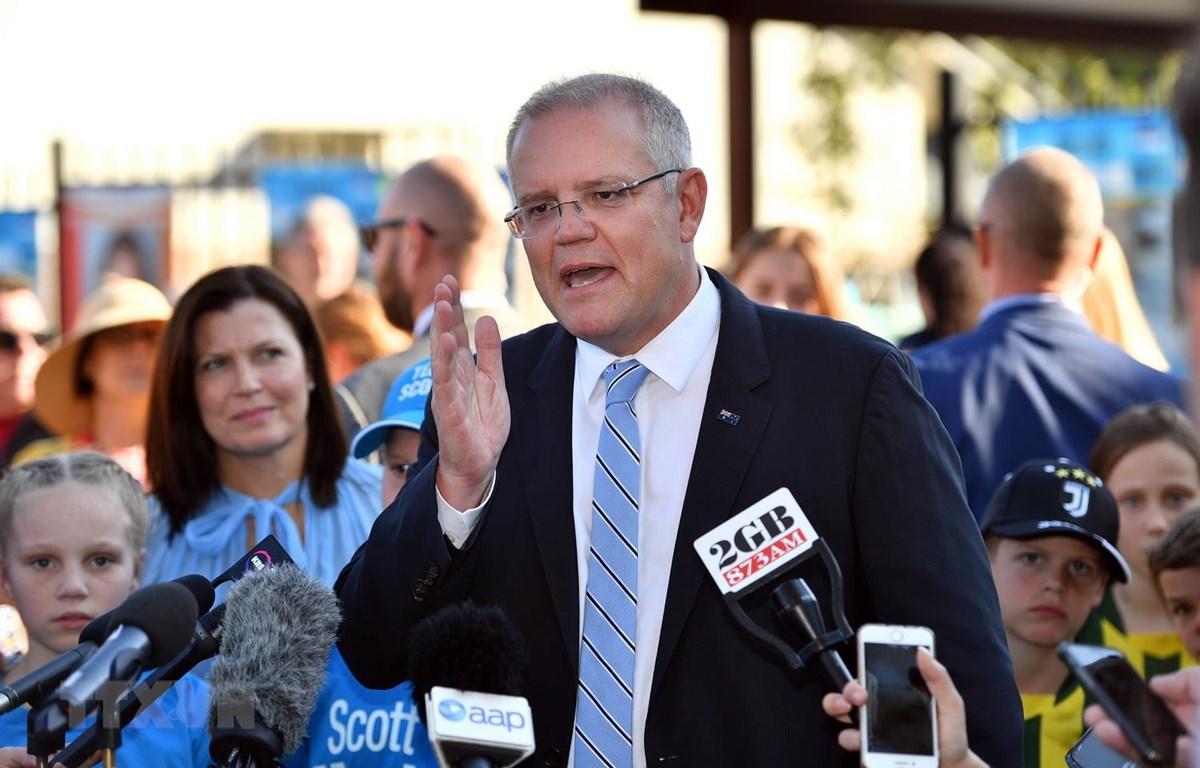 Thủ tướng Australia Scott Morrison trả lời báo giới tại Sydney ngày 18/5. (Ảnh: AFP/TTXVN)