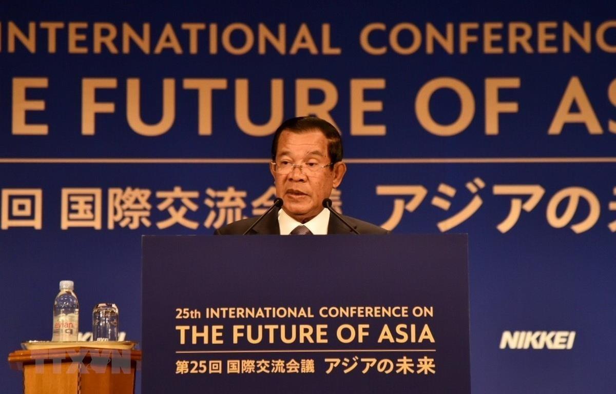 Thủ tướng Campuchia Hun Sen phát biểu tại hội nghị. (Ảnh: Thành Hữu/TTXVN)