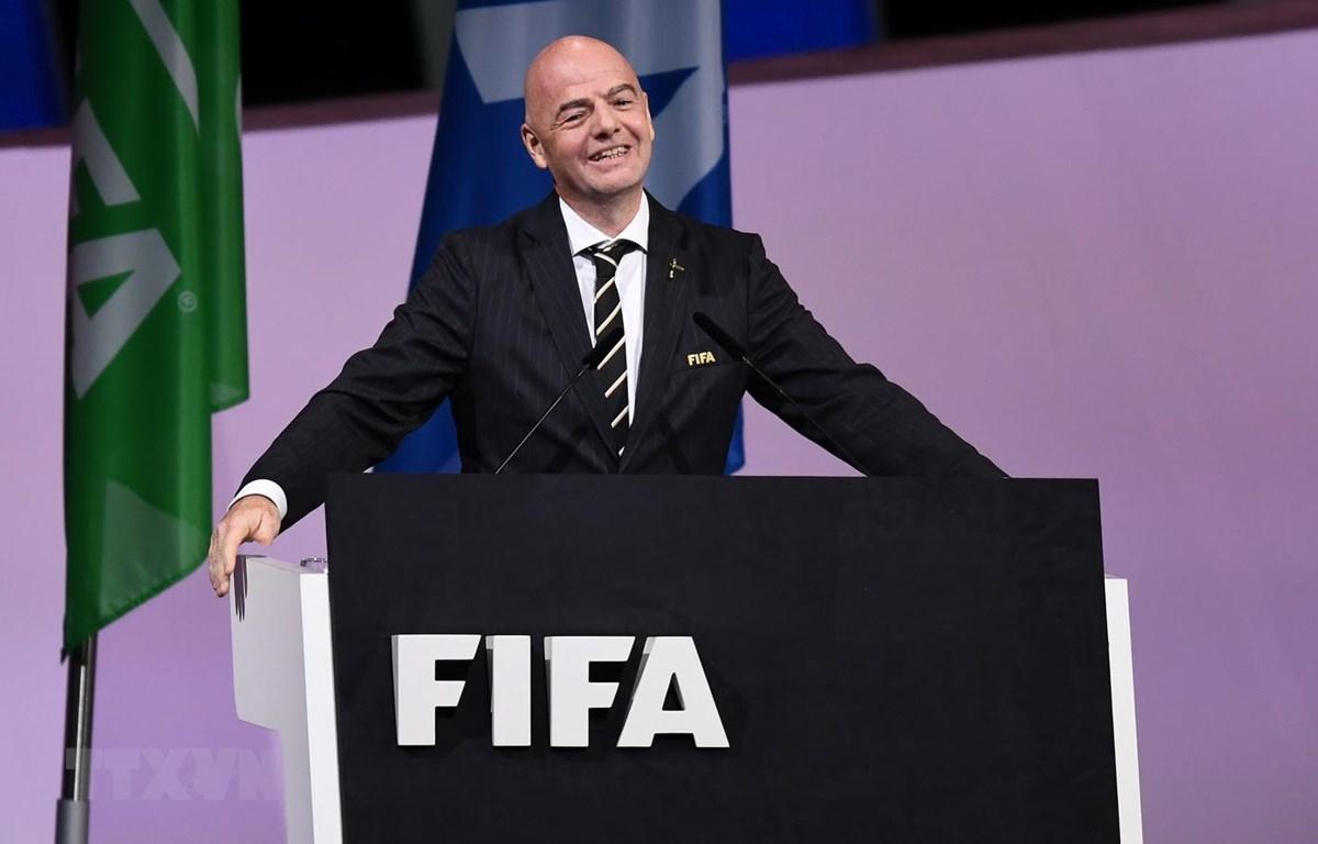 Ông Gianni Infantino sau khi tái đắc cử nhiệm kỳ 2 chức Chủ tịch FIFA. (Ảnh: AFP/TTXVN)
