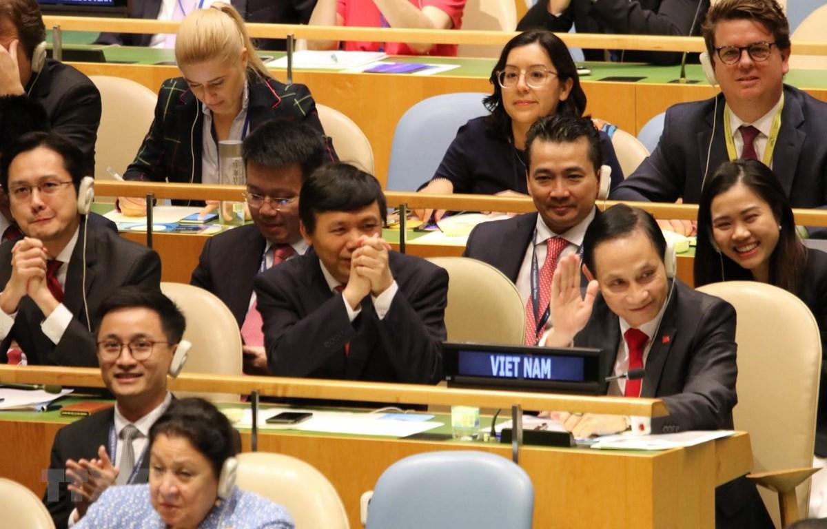 Niềm vui của các thành viên của đoàn Việt Nam khi trúng cử với số phiếu gần như tuyệt đối..(Ảnh:PV/TTXVN)