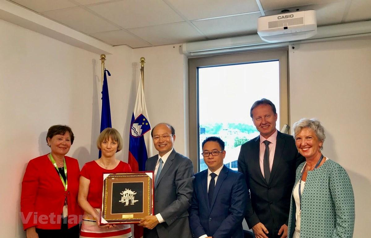 Đại sứ Việt Nam tại Áo kiêm nhiệm Slovenia Lê Dũng làm việc và tặng Quốc vụ khanh (Thứ trưởng) Bộ Nông Lâm nghiệp và Thực phẩm Slovenia Tanja Strnica. (Nguồn: Đại sứ quán Việt Nam tại Slovenia)